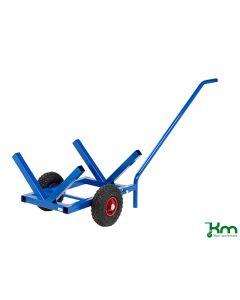 Langgodsvogn med luftgummi hjul. Blå