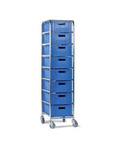 Vogn med plastkasser - 8 x 142106 (1/4 pallekasse EURO). Blå kasse