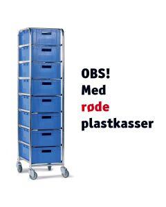 Vogn med plastkasser - 8 x 142105 (1/4 pallekasse EURO). Rød kasse