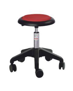 Taburet Micro på hjul. Lav. Rødt polster