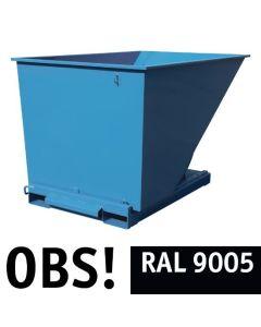 Tipcontainer åben. 2000 l. RAL9005 Jet black