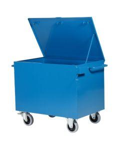 Mobil opbevaringscontainer med 4 hjul. RAL5019 Capri blue
