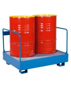 Opsamlingskar med rækværk til 1 stående tønde. RAL19 Capri blue