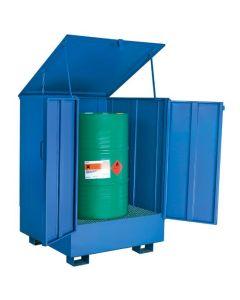 Miljøskab med opsamlingskar til 1 tønde. RAL5019 Capri blue