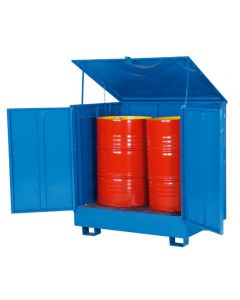 Miljøskab med opsamlingskar til 2 tønder