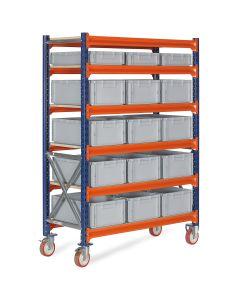 Vogn med plastkasser - 3 x 476412 + 12 x 476422. Grå kasser
