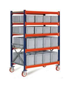Vogn med plastkasser - 16 x 474322 + 16 x 474332. Grå kasser