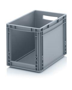 1/8 pallekasse / plastkasse H320 mm. Med åben front. Grå (Auer)