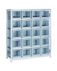 Reol med plastkasser, åben front. 20 x 270140. Grå