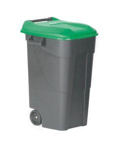 Affaldsbeholder med grønt låg. 120  l