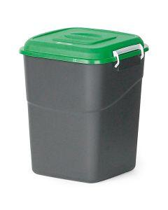 Affaldsbeholder med grønt låg. 50  l