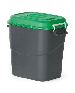 Affaldsbeholder med grønt låg. 75  l
