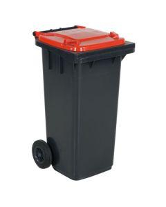 Affaldsbeholder 120 l. Grå med rødt låg