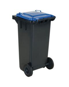 Affaldsbeholder 120 l. Grå med blåt låg