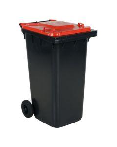 Affaldsbeholder 240 l. Grå med rødt låg