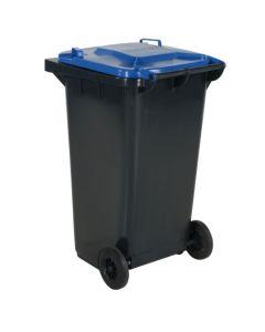 Affaldsbeholder 240 l. Grå med blåt låg