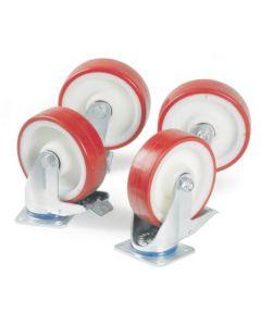 Hjul Ø150 mm. PU. Svingbar med bremse. 1 stk.
