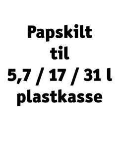 Papskilt til 5,7/17,0/31,0 l plastkasse