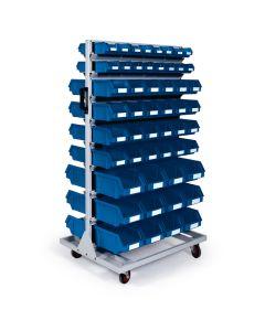 Rullestativ H1514 mm. Dobbeltsidet med plastkasser (blå)