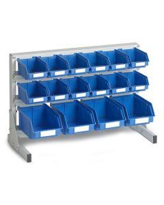 Bordstander med 16 blå plastkasser