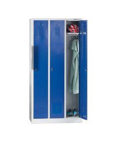 Omklædningsskab / Garderobeskab med 3 rum. Blå låger. På sokkel