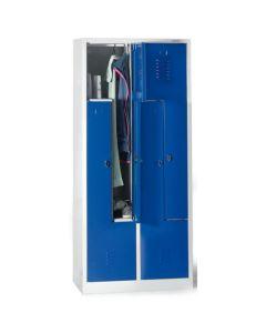 Garderobeskab / Omklædningskab Z-model med 4 rum. Blå låger. På sokkel