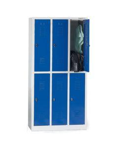 Garderobebokse 1/2 låge. 6 rum. Blå låger. På sokkel