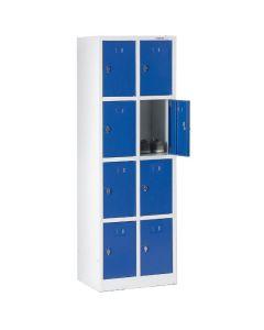 Garderobebokse 1/4 låge. 8 rum. Blå låger. På sokkel