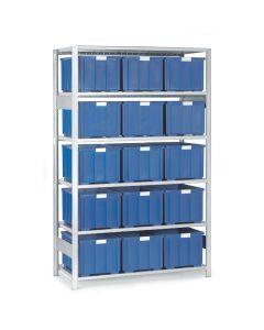 Reol med plastkasser. 15 x 140106. Blå