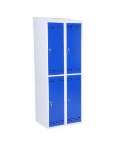 Garderobeboks 2x2 rum. Blå låge. Grå korpus