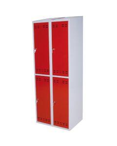 Garderobeboks 2 x 2 rum. Rød låge. Grå korpus