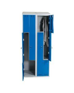 Garderobeskab Z-model med 4 rum. Blå låge