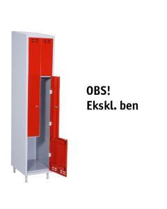 Garderobeskab Z-model med 2 rum. Rød låge