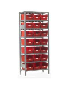 Reol med plastkasser. 21 x 520306. Rød