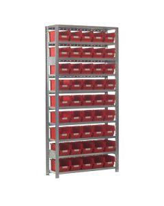 Reol med plastkasser. 45 x 510206. Rød
