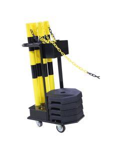 Afspærringsstolper (6 stk.) + vogn. Gul/sort