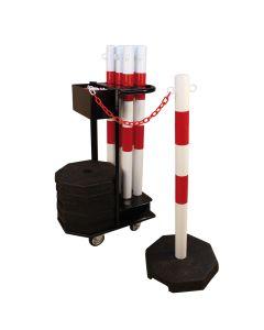 Afspærringsstolper (6 stk.) + vogn. Rød/hvid