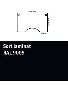 Bordplade med centerudskæring. L1600 x B1000 mm. Sort laminat