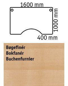 Bordplade med centerudskæring. L1600 x B1000 mm. Bøgefinér