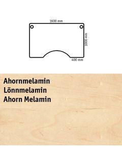 Bordplade med centerudskæring. L1600 x B1000 mm. Ahorn-melamin
