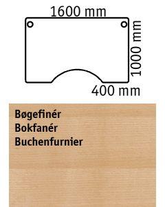 Bordplade med centerudskæring. L1600 x B1000 mm. Bøgemelamin