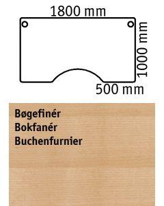 Bordplade med centerudskæring. L1800 x B1000 mm. Bøgefinér