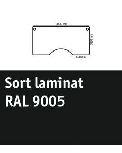 Bordplade med centerudskæring. L2000 x B1000 mm. Sort Laminat