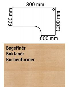 Bordplade med højrevendt bordplade. L1800 x B800 / 1200 mm. Bøgefinér