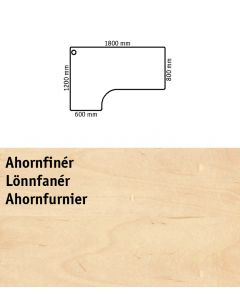 Bordplade med venstrevendt bordplade. L1800 x B800 / 1200 mm. Ahornfinér