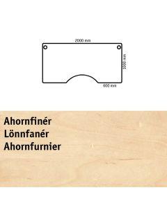 Bordplade med centerudskæring. L2000 x B1000 mm. Ahornfinér