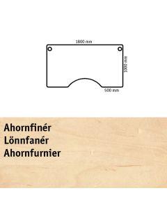 Bordplade med centerudskæring. L1800 x B1000 mm. Ahornfinér