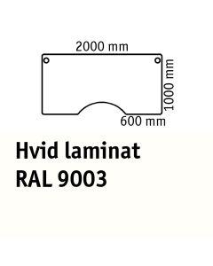 Bordplade med centerudskæring. L2000 x B1000 mm. Hvid laminat