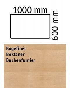 Bordplade. L1000 x B 600 mm. Bøgefinér